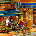 Cafes With Blue Awnings by Carole Spandau