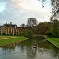 Cambridge Clare College Stream Boat And Boys by Douglas Barnett