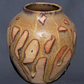Caramel Drizzle Wheel Thrown Pot by Carolyn Coffey Wallace