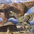 Carcharodontosaurus Guards Its Kill by Mark Hallett