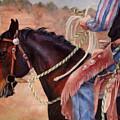 Castle Rock Buckaroo Western Cowboy Painting by Kim Corpany