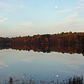 Centennial Lake Autumn - Reflective Moon Over The Lake by Ronald Reid