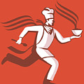 Chef Cook Baker Running With Soup Bowl by Aloysius Patrimonio