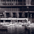 Chicago River Boats Bw by Steve Gadomski