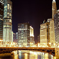 Chicago State Street Bridge At Night by Paul Velgos