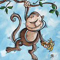 Childrens Whimsical Nursery Art Original Monkey Painting Monkey Buttons By Madart by Megan Duncanson