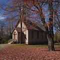 Church And Fall Foliage In Eckley Village by Bob Hahn