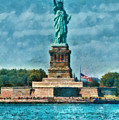 City - Ny - The Statue Of Liberty by Mike Savad
