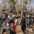 Civil War Soldiers March Through Woods by Rodger Whitney