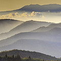 Cloudy Layers On The Blue Ridge Parkway - Nc Sunrise Scene by Rob Travis