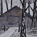 Country Barn Pen And Ink Drawing Print by Derek Mccrea