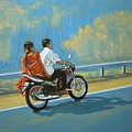 Couple Ride On Bike by Usha Shantharam