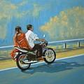 Couple Ride On Bike by Usha Shantharam