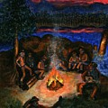 Cowboys Mountain Camp At Night by Tanna Lee M Wells