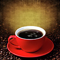 Cup Of Coffee On Grunge Textured Background by Pics For Merch