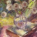 Dandelions Flowers In A Vase Sunny Still Life Painting by Svetlana Novikova
