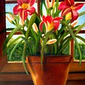 Daylilies In The Window by Susan Dehlinger