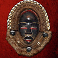 Dean Gle Mask By Dan People Of The Ivory Coast And Liberia On Red Velvet by Serge Averbukh