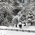 Deep Snow Multnomah Falls by Wes and Dotty Weber