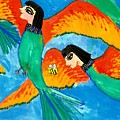 Detail Of Bird People Little Green Bee Eaters Of Upper Egypt 2 by Sushila Burgess