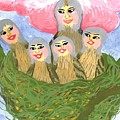 Detail Of Bird People The Chaffinch Family Nest by Sushila Burgess