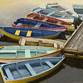 Dock With Colorful Boats by Dennis Orlando