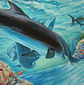 Dolphins At Play by Diann Baggett