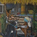Donkey  At Taco Stand by Anita Wann