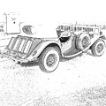 Drawing The Antique Car by Michelle Powell