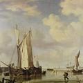 Dutch Vessels Inshore And Men Bathing by Willem van de Velde