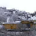 Edinburgh Castle And National Galleries Of Scotland In Winter by Heather Lennox