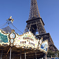 Eiffel Tower And Ancient Carousel by Charles  Ridgway