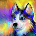 Electric Siberian Husky Dog Painting by Svetlana Novikova