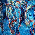 Equine Abstract Blue Four By M Baldwin by Marcia Baldwin
