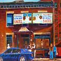 Fairmount Bagel With Blue Car  by Carole Spandau