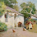 Feeding The Hens by Arthur Claude Strachan