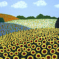 Field Of Sunflowers by Frederic Kohli