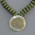 Fine Silver Doily Pendant On Green Jade by Mirinda Kossoff