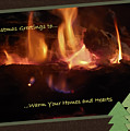 Fireside Christmas Greeting by DigiArt Diaries by Vicky B Fuller