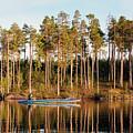 Fisherman On Evening Lake by Vadzim Kandratsenkau