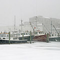 Fishing Boats During Winter Storm Sandwich Cape Cod by Matt Suess
