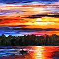 Fishing By The Sunset  by Leonid Afremov