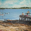 Fishing Off The Docks At Point Judith R.i. by Perrys Fine Art