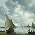 Fishingboat In An Estuary by Jan Josephsz van Goyen