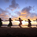 Five Hula Dancers At Sunset At The Beach At Palauea by David Olsen