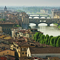 Florence. View Of Ponte Vecchio Over River Arno. by Norberto Cuenca