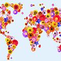 Flower World Map by Michael Tompsett