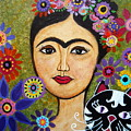 Frida Kahlo And Cat by Pristine Cartera Turkus