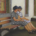 Friends Seated In Bench by Leonor Thornton