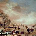 Frozen Canal Scene  by Aert van der Neer